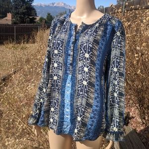 Lucky Brand Blue Pattern Blouse XL
